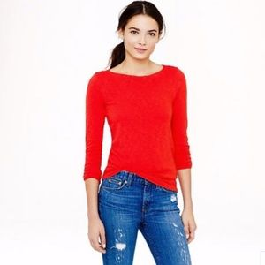 NEW J.Crew Red-Orange Long Sleeve Painter Tee Slim